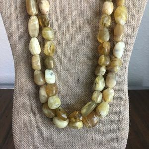 Gemstone Yellow Opal Bead Necklace